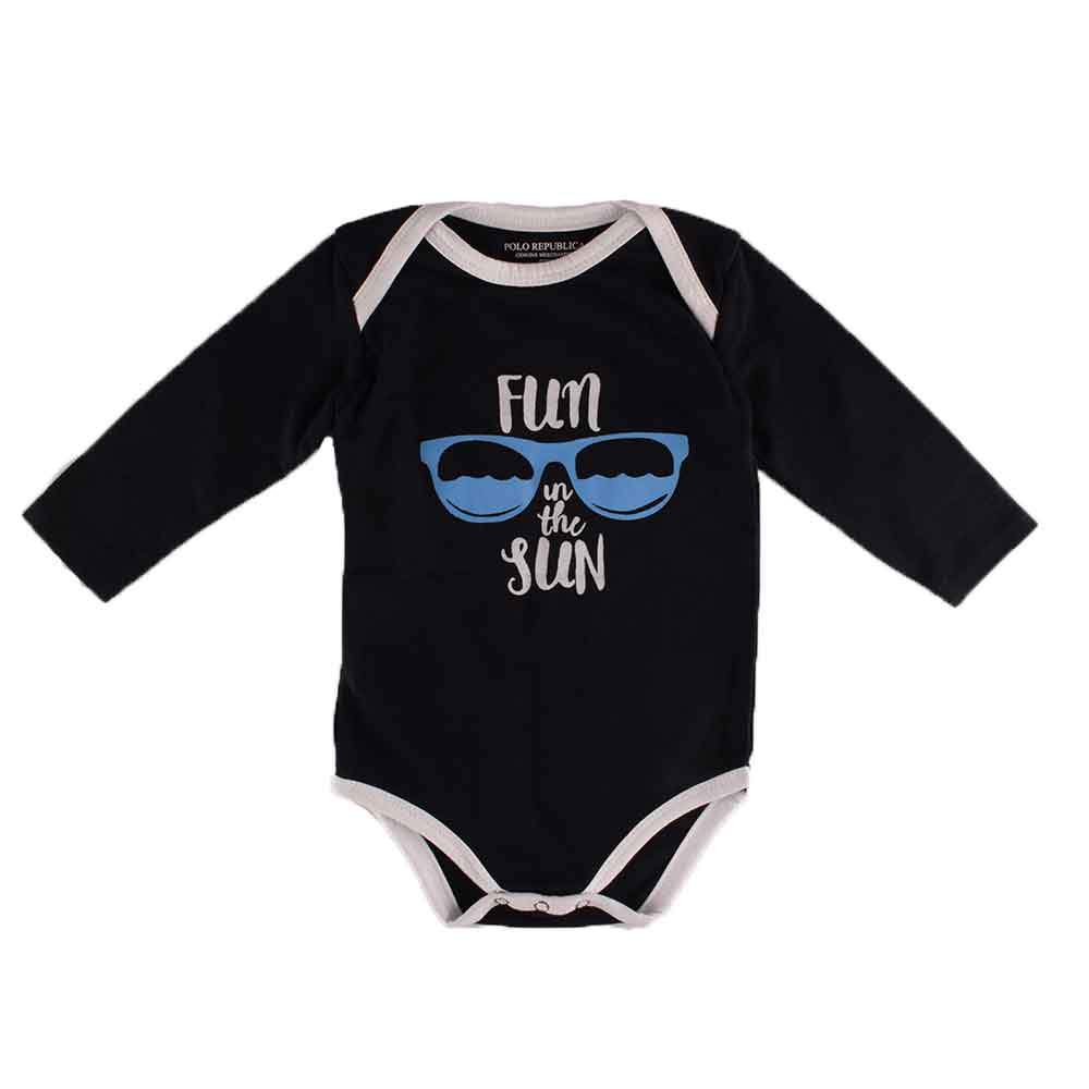 Polo Republica Fun Under The Sun Long Sleeve Pique Baby Romper Babywear Polo Republica Black White 0-3 Months