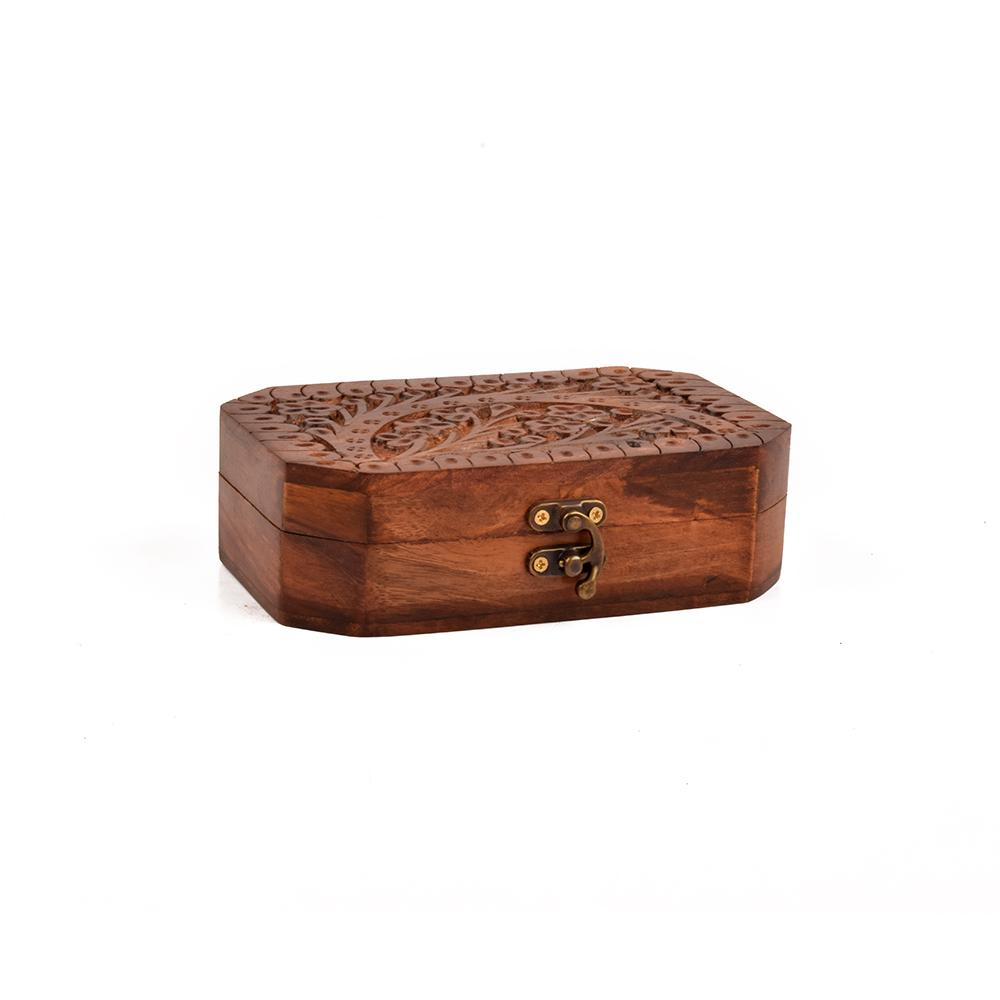 Real Wood Hand Carved Jewellery Box
