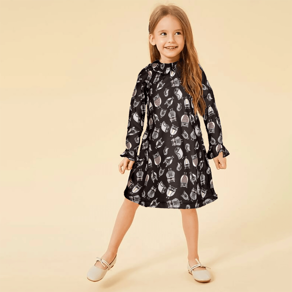 Safina Kid's Strix Printed Long Sleeve Frock