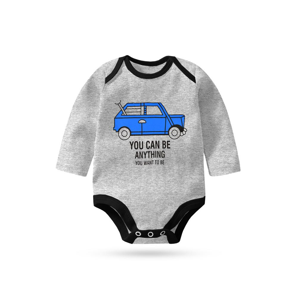 Polo Republica You Can Be Everything Long Sleeve Baby Romper Babywear Polo Republica Heather Grey Black 0-3 Months