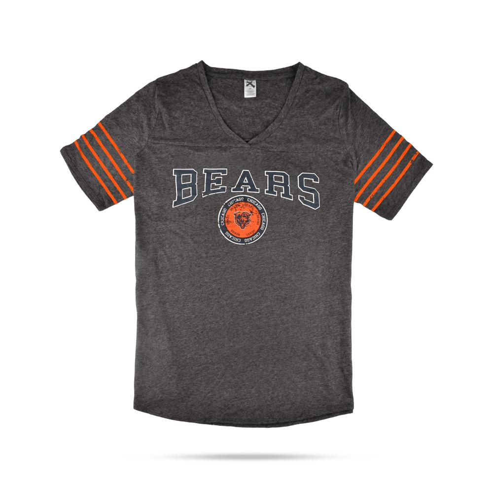 TMAL Chicago Bears Short Sleeve V-Neck Tee Shirt Women's Tee Shirt MAJ Charcoal Orange XS