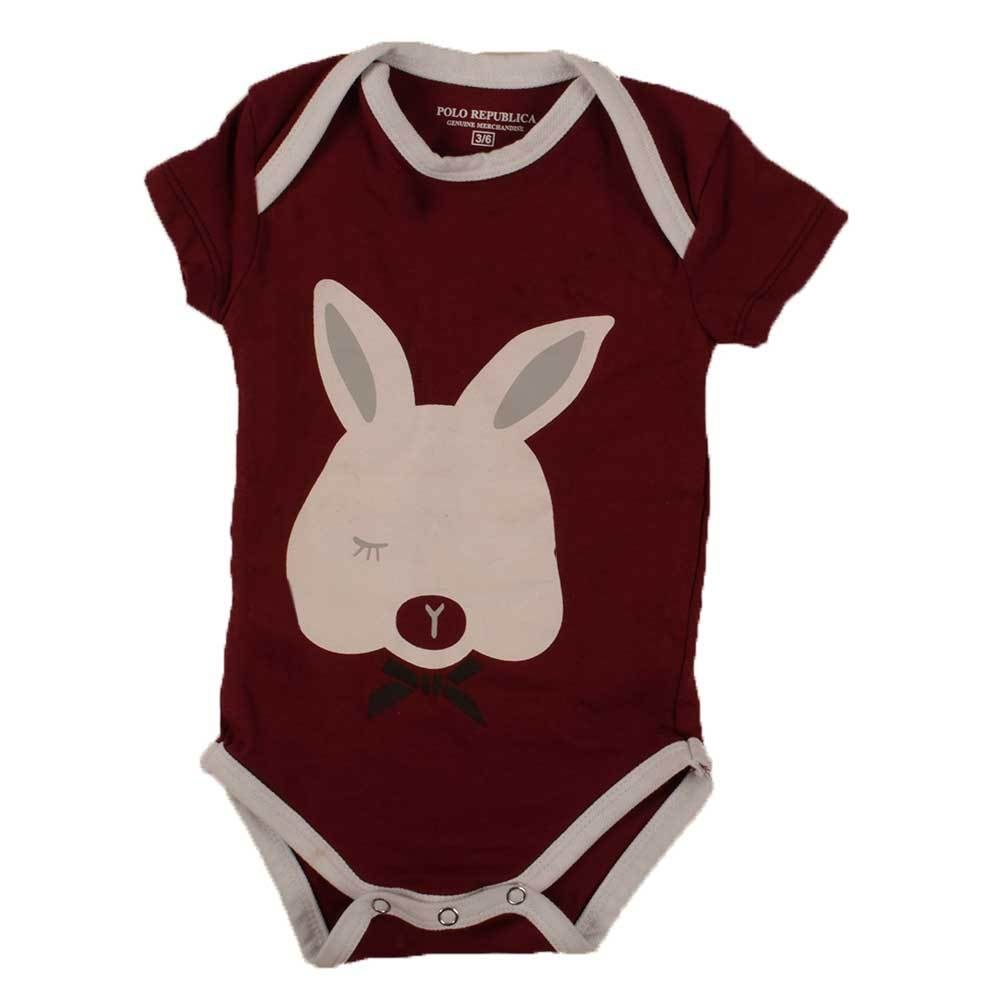 Polo Republica Kid's Bunny Short Sleeve Romper Babywear Polo Republica Burgundy White 0-3 Months