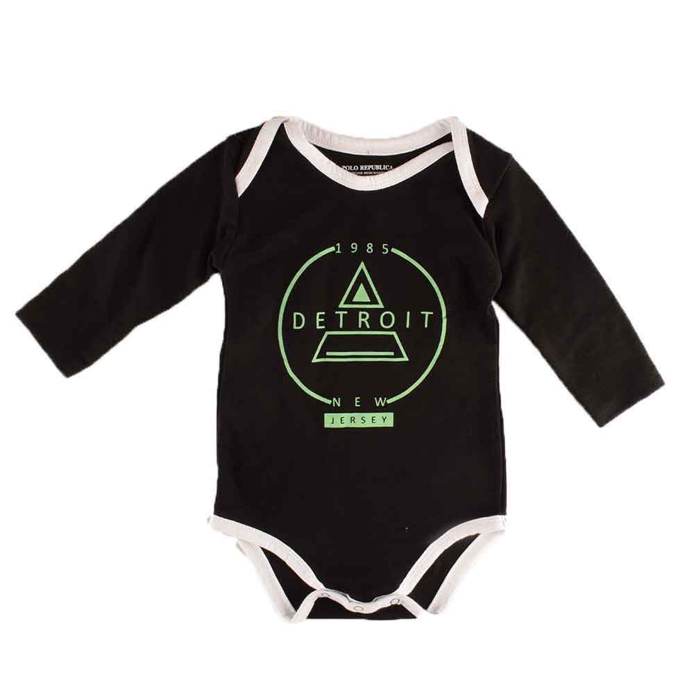 Polo Republica Detroit Long Sleeve Pique Baby Romper Babywear Polo Republica Black White 0-3 Months