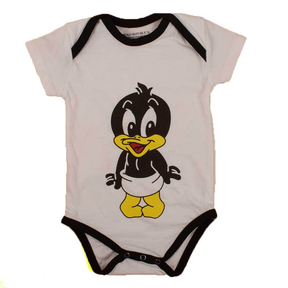Polo Republica Kid's Daffy Duck Short Sleeve Romper Babywear Polo Republica White Black 0-3 Months