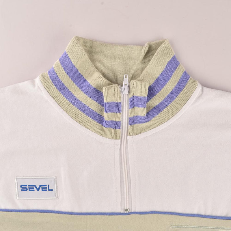 SVL Men's 1/4 Zipper Chic Sweatshirt Men's Sweat Shirt NMA Beige White XS