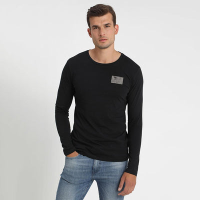 FLSR Outdoor Equipment Men's Long Sleeves Tee Shirt Men's Tee Shirt MAJ Black S
