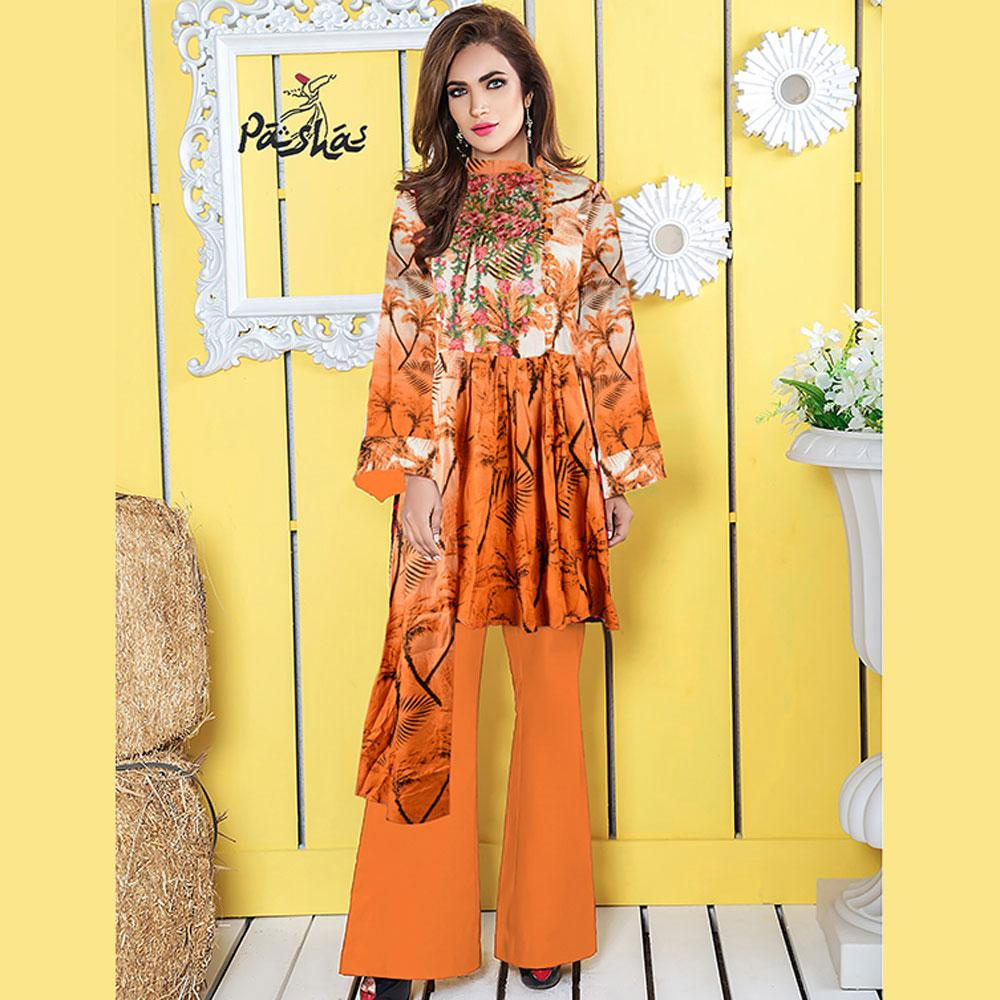 Pasha Floral Texture Paranaque Embroidered Stitched Printed Linen Kurti Women's Stitched Kurti Pasha Regular