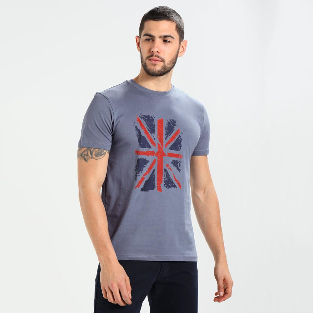LE Karleby England Crew Neck Tee Shirt Men's Tee Shirt Image Blue Marl XS