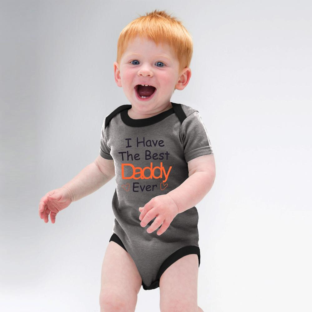 Polo Republica Best Daddy Short Sleeve Pique Baby Romper Babywear Polo Republica Charcoal Black 0-3 Months