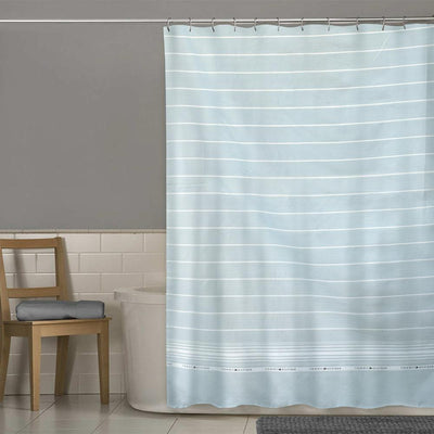 TMH White Lining Design One Piece Washroom Curtain Curtain MB Traders