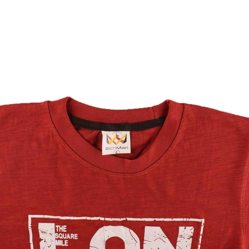 Rich Man The Square Mile London Printed Tee Shirt Men's Tee Shirt ASE Red XS