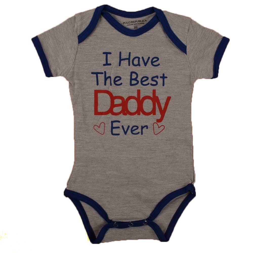 Polo Republica I Have The Best Daddy Ever Short Sleeve Romper Babywear Polo Republica Heather Grey Royal 0-3 Months