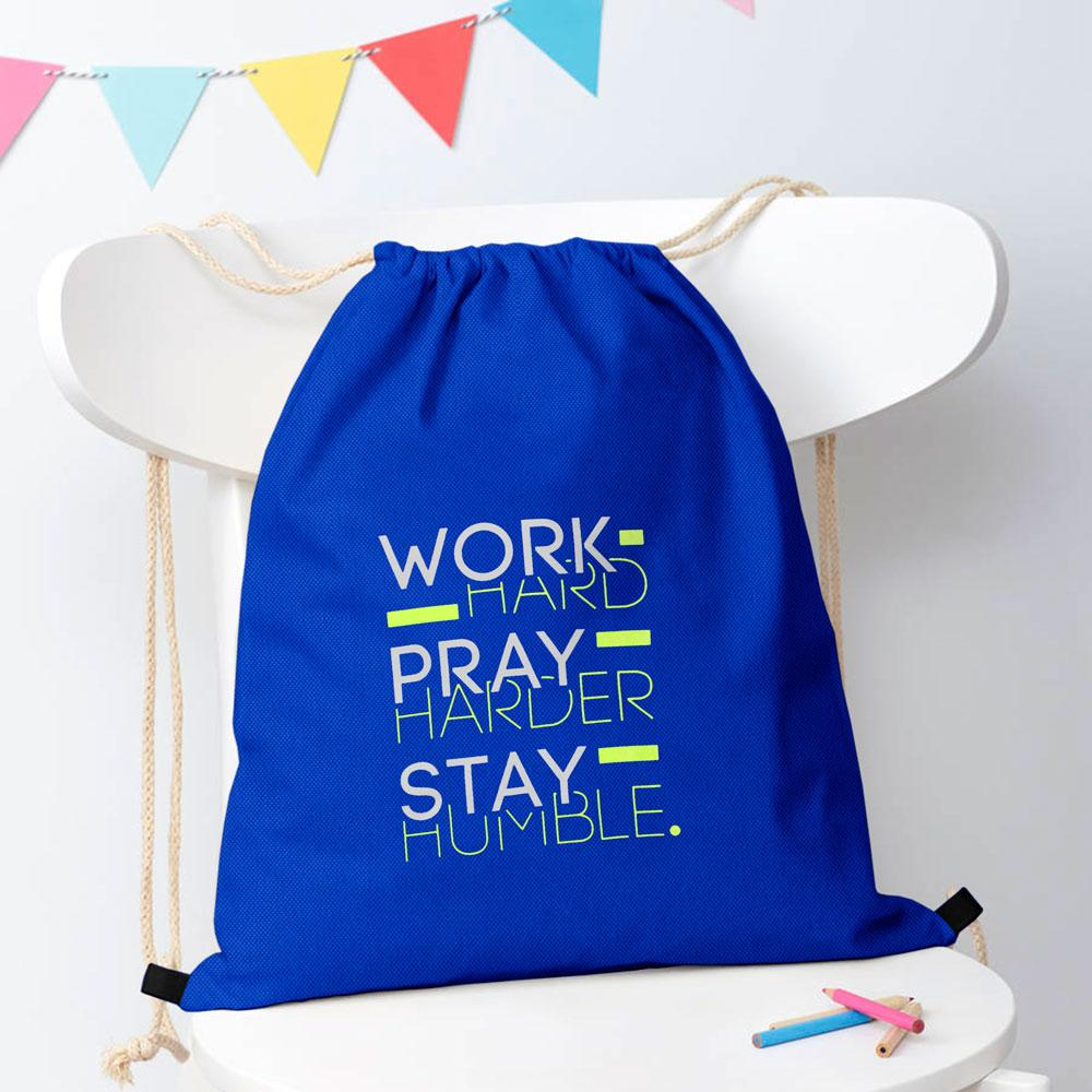Polo Republica Work Hard Pray Harder Drawstring Bag Drawstring Bag Polo Republica Royal Blue