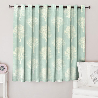 Fusion Autumn Tree Design One Piece Eyelet Curtain Curtain MB Traders Sea Green W-46 x L-54 Inches