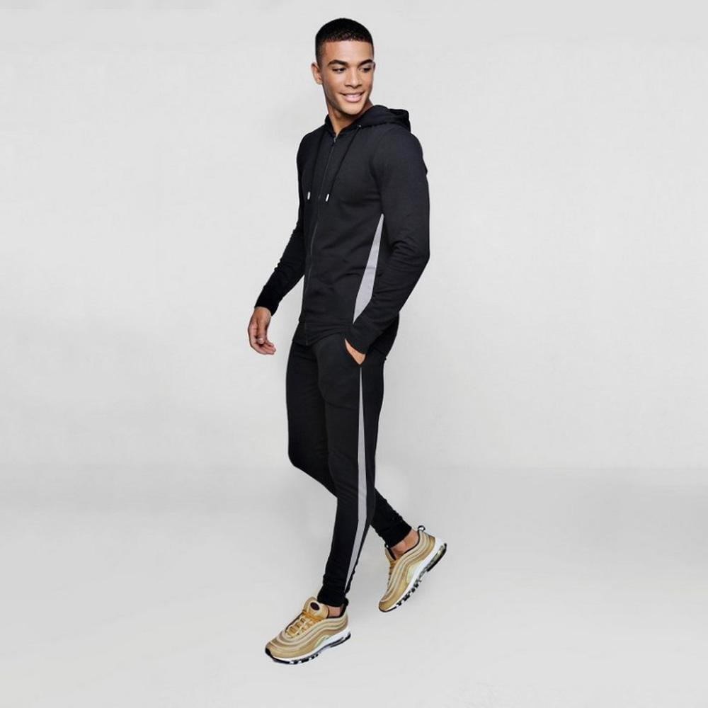 BHM Men's Activewear Side Stripes Hooded Tracksuit Men's Tracksuit SRK Black S