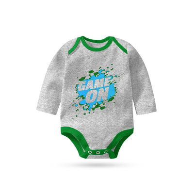 Polo Republica Game On Long Sleeve Baby Romper Babywear Polo Republica Heather Grey Green 0-3 Months