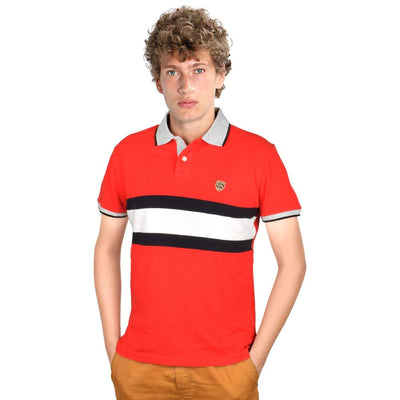 SS EST 1977 Men's Contrast Collar Polo Shirt Men's Polo Shirt First Choice Red S