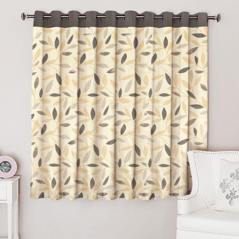 MB Leaf Pattern One Piece Eyelet Curtain Curtain MB Traders Dark Graphite W-46 x L-72 Inches