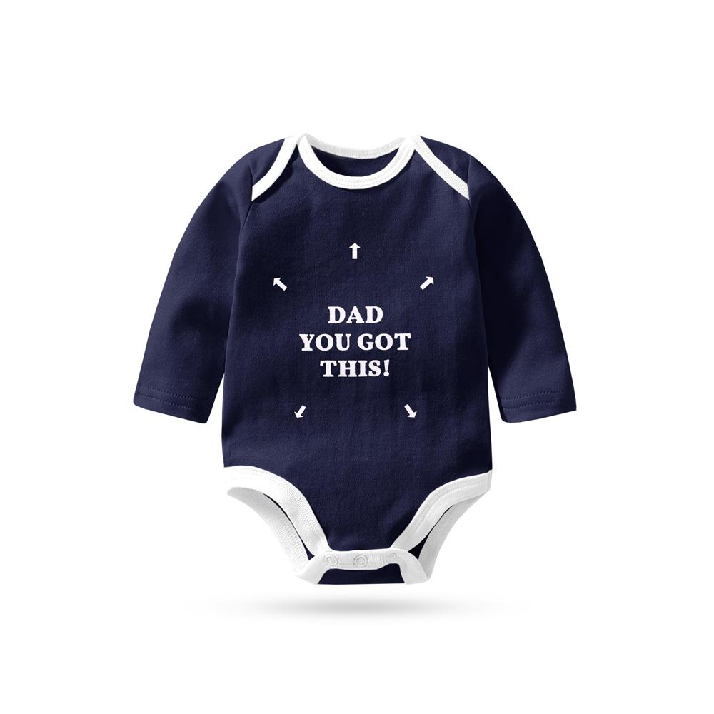 Polo Republica Dad You Got This Classy Pique Long Sleeve Baby Romper Babywear Polo Republica Navy White 0-3 Months