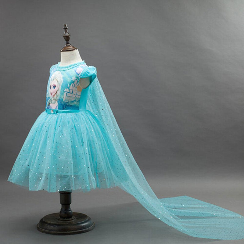 Frozen Princess Elsa Sequins Short Sleeve Frock