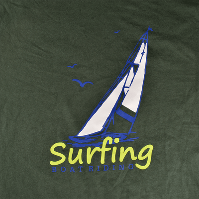 LE Surfing Boat Riding Crew Neck Tee Shirt Men's Tee Shirt Image