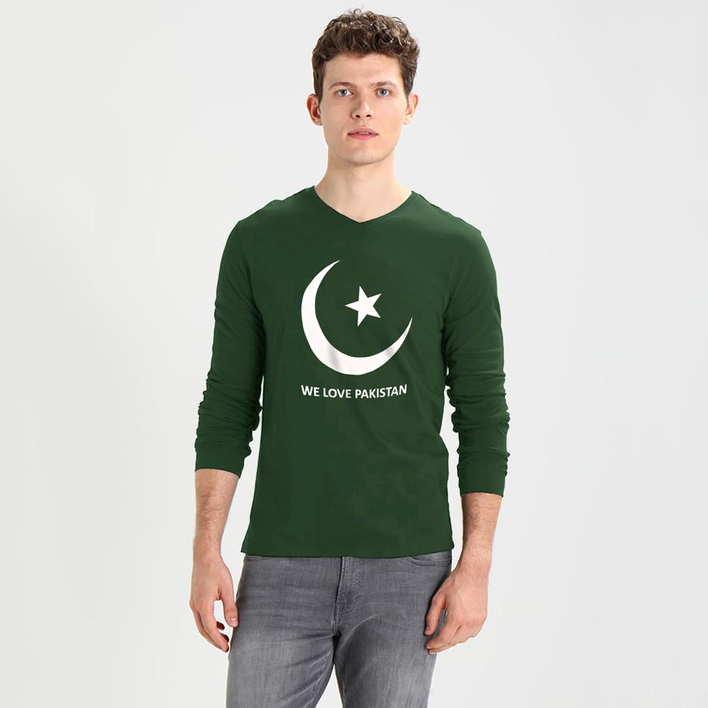 We Love Pakistan Long Sleeve V-Neck Tee Shirt Men's Tee Shirt Image Bottle Green White S