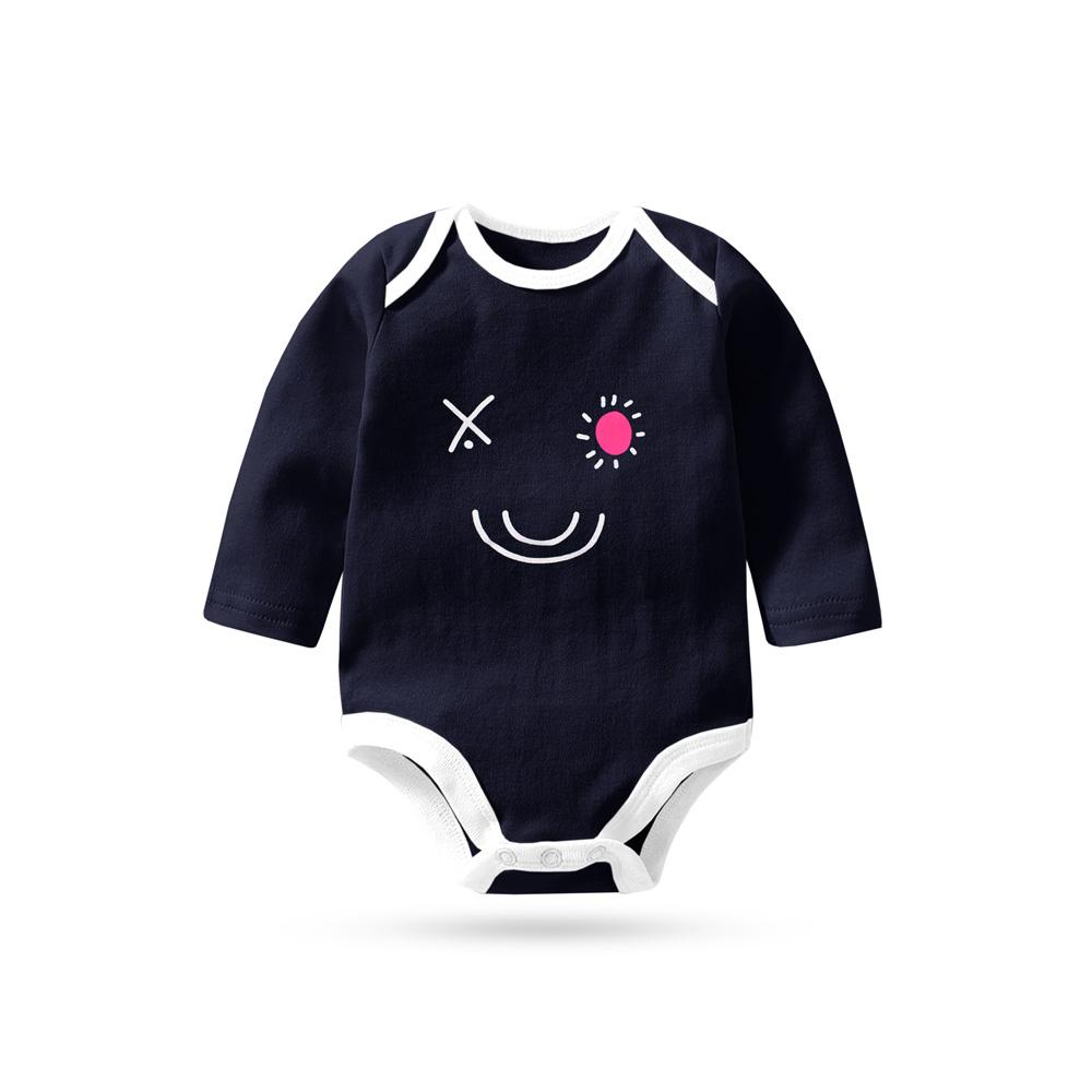 Polo Republica Elegant Printing Pique Long Sleeves Baby Romper Babywear Polo Republica Navy White 0-3 Months