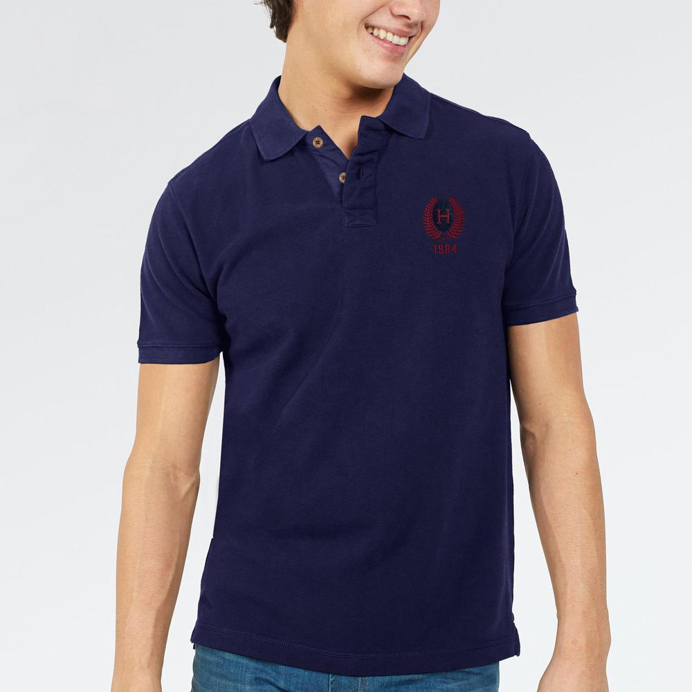 HRTG Fundao Men's Cut Label Polo Shirt Men's Polo Shirt NMA Navy Red XS