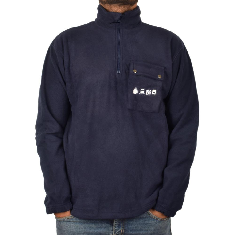 BRLS Aimogasta Minor Fault Men's 1/4 Zipper Polar Fleece Sweat Shirt Minor Fault Image Navy S