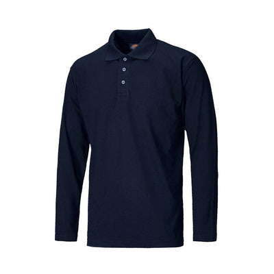 DCK Solid Long Sleeve Pique Polo Shirt Men's Polo Shirt Image Navy S