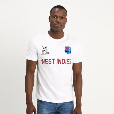 LE West Indies Cricket Men's Crew Neck Tee Shirt Men's Tee Shirt Image White XS