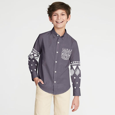 Polo Republica Finike Boys Printed Casual Shirt Boy's Casual Shirt MAJ Smoke 2 Years