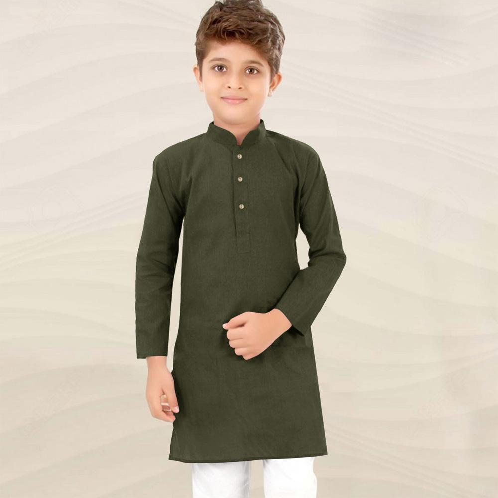 Polo Republica Classic Solid Boy's Kurta Boy's Kurta MAJ Olive 2 Years