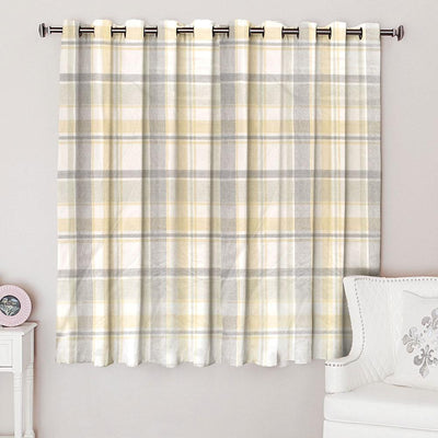 Dunelm Check Woven Lined One Piece Eyelet Curtain Curtain MB Traders W-66 x L-54 Inches