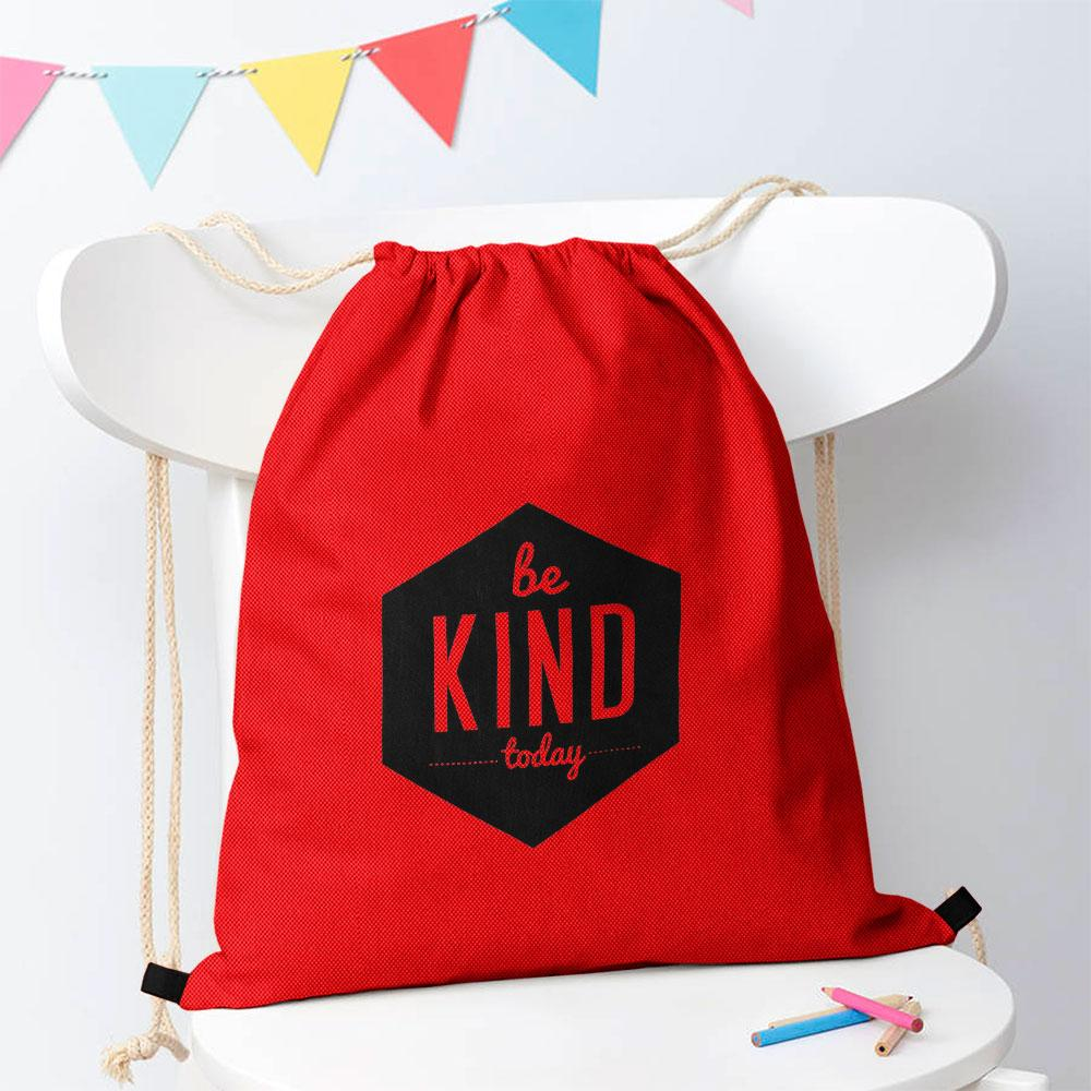 Be Kind Today Drawstring Bag Drawstring Bag Polo Republica Red Black