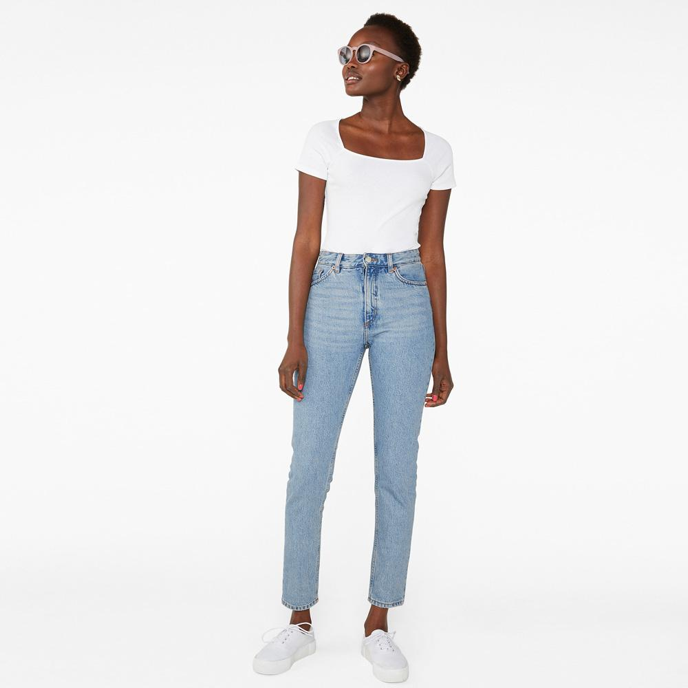 Monki Women's Light Wash Comfy Relaxed Fit Denim