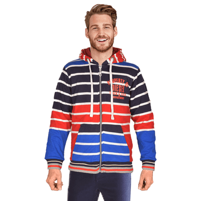 Diesel Ireland Men's Track & Field Depart SHERPA LINED ZIPPER HOODIE Men's Zipper Hoodie NMA Navy Red S