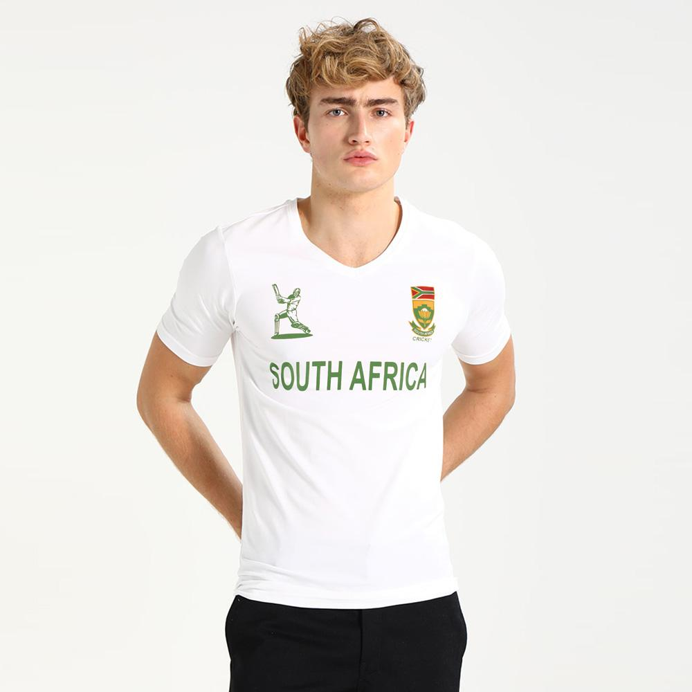 LE South Africa Cricket Men's V-Neck Tee Shirt Men's Tee Shirt Image