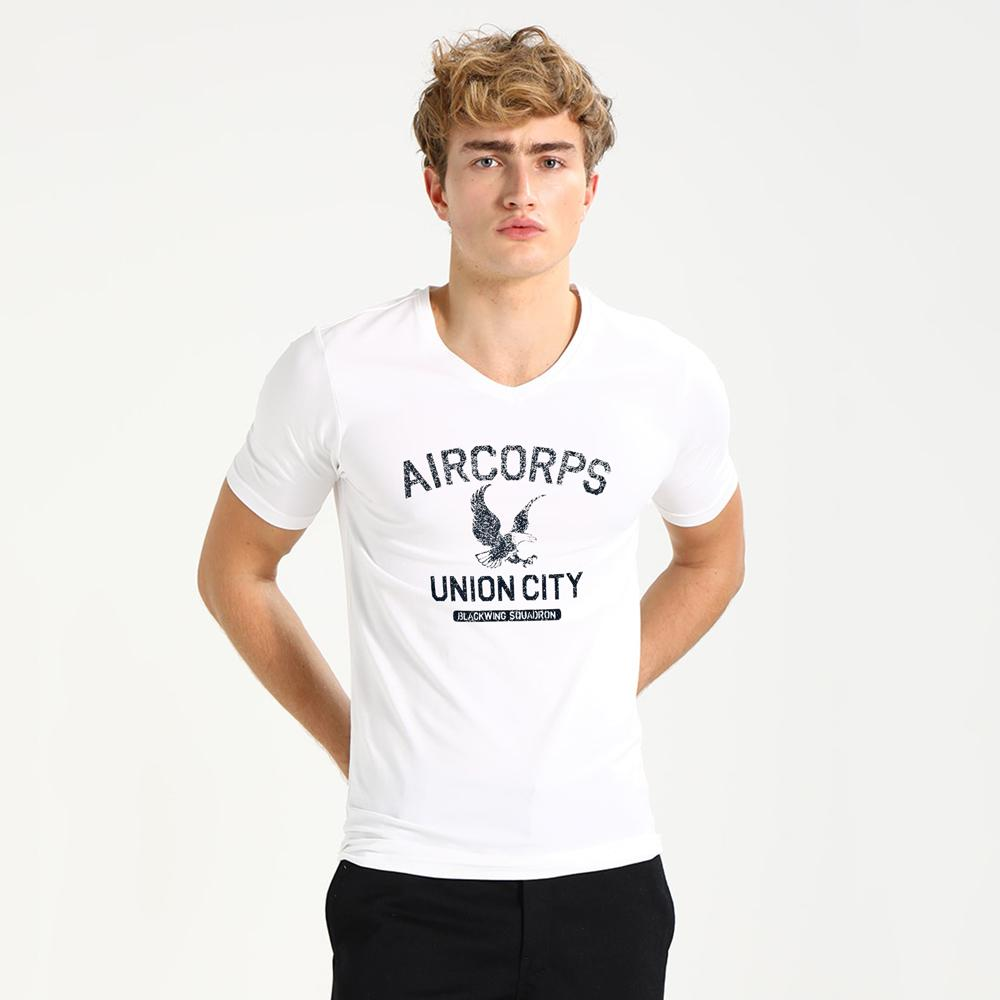 Aircorps Union City Black Wing Men's V Neck Tee Shirt Men's Tee Shirt Image White S