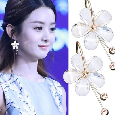 Long Paragraph Tassels Camellia Flower Crystal Earrings Jewellery Sunshine China