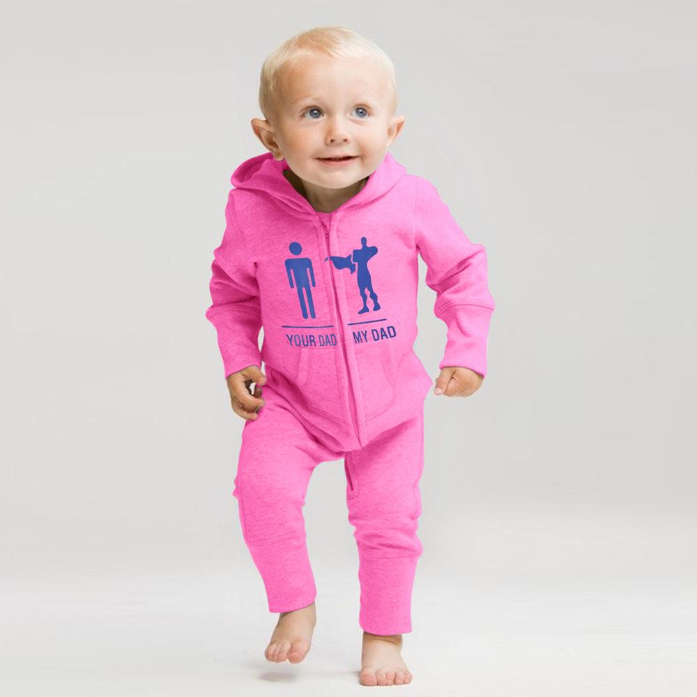 Your Dad My Dad Fleece Baby Romper Babywear Image Pink Blue 6-12 Months
