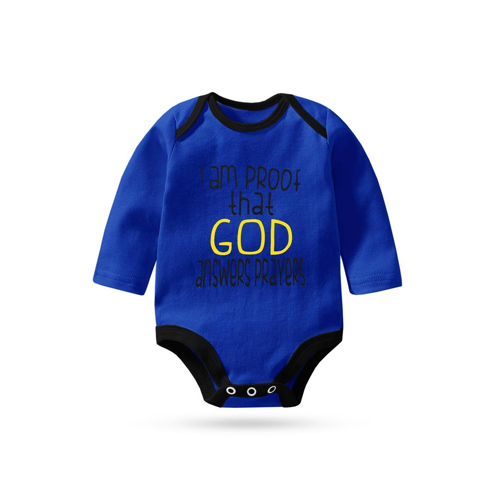 Polo Republica I Am Proof That God Answer Prayers Pique Baby Romper Babywear Polo Republica Royal Black 0-3 Months