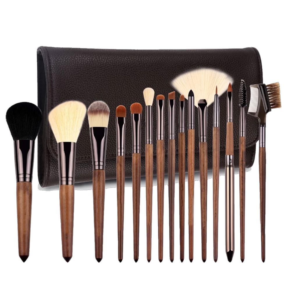 The Vanity Cosmetics Australia 15 Brush Kit With Leather Pouch