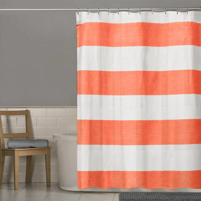 TMH Orange N White One Piece Washroom Curtain Curtain MB Traders