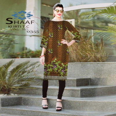Shaaf Zlatoust Digital Printed Lawn Kurti Women's Stitched Kurti First Choice