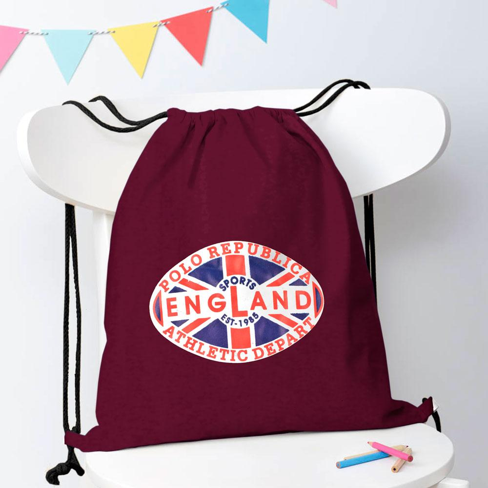 Polo Republica Sports England 1985 Drawstring Bag Drawstring Bag Polo Republica Burgundy