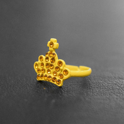 Crystal Crown Design Ring Jewellery Sunshine China Yellow
