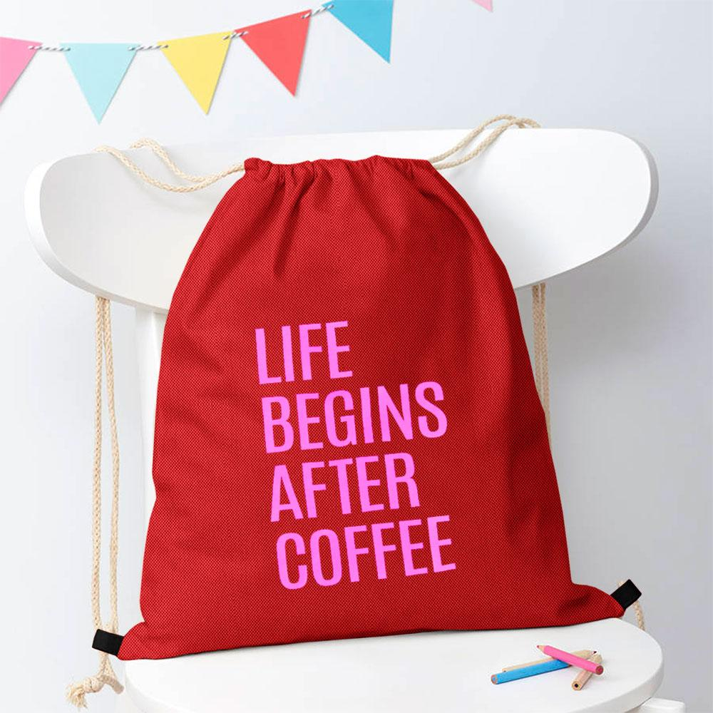 Polo Republica Life Begins After Coffee Drawstring Bag Drawstring Bag Polo Republica Red Magenta