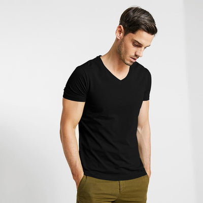 CSG Fabriciano V Neck Men's Solid Tee Shirt Men's Tee Shirt First Choice Black S