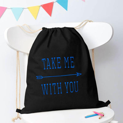 Polo Republica Take Me With You Drawstring Bag Drawstring Bag Polo Republica Black Blue